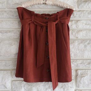 Burnt Orange Belted Skirt